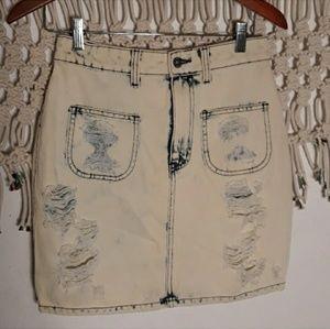 LF carmar acidwashed distressed jean skirt